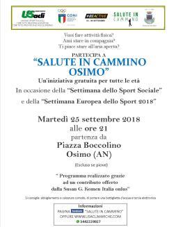 volantino camminate Osimo 25 settembre 2018