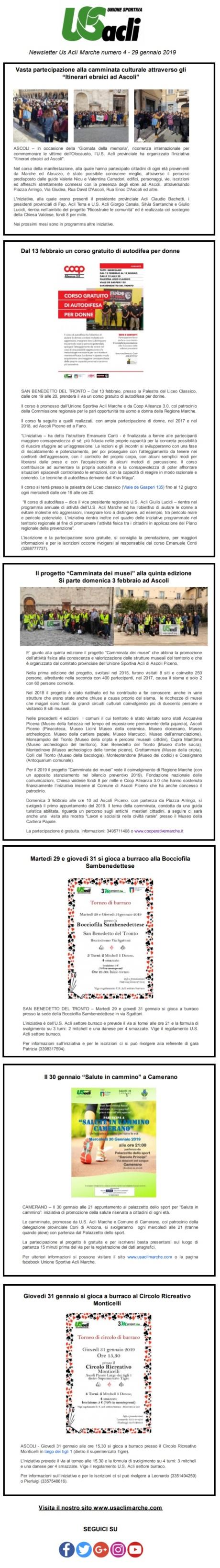 newsletter 4 del 29012019
